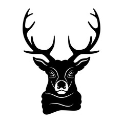 Silhouette deer head in scarf on white background.