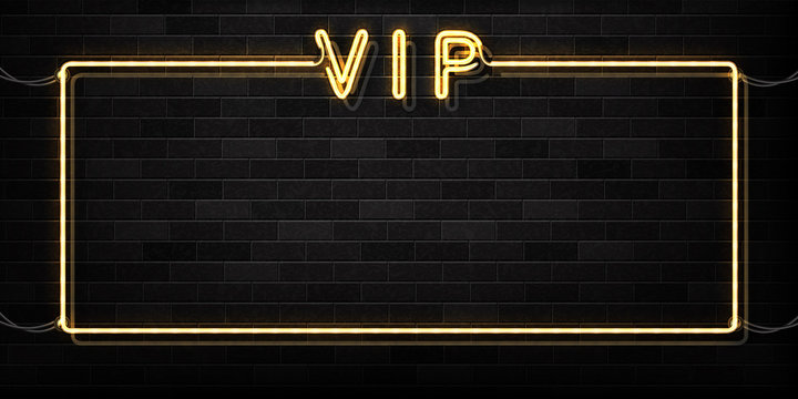 Vector realistic isolated neon sign of VIP frame logo for decoration and covering on the wall background. Concept of luxury.