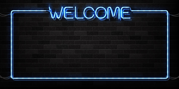 Vector realistic isolated neon sign of Welcome frame logo for decoration and covering on the wall background.