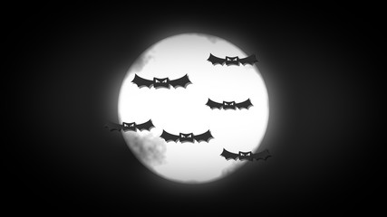 Spooky halloween background with moon and bats flying around
