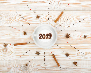 New Year Numbers 2019 on Macchiato or Latte Cappuccino