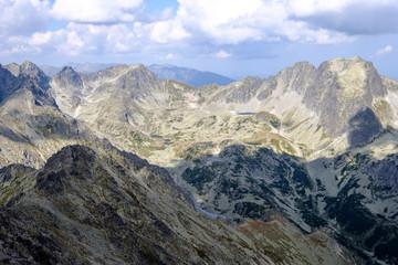 rocky sharp mountain tops in Tatra mountains in Slovakia