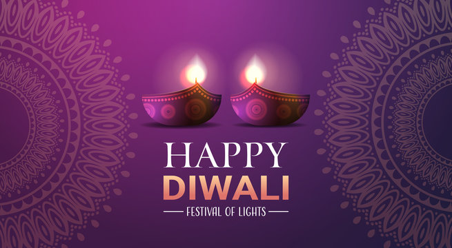 happy diwali traditional indian lights hindu festival celebration holiday concept flat greeting card template invitation horizontal copy space vector illustration