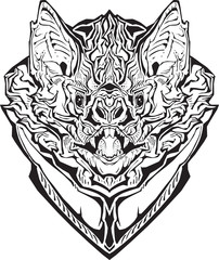 angry bat. Isolated. Coloring page.