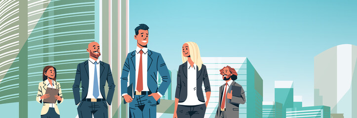 business people group diverse team successful men women over cityscape background male female cartoon character portrait flat horizontal banner vector illustration