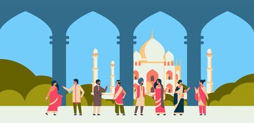 indian people group wearing national traditional clothes hindu man woman communication muslim cityscape mosque building horizontal banner flat vector illustration