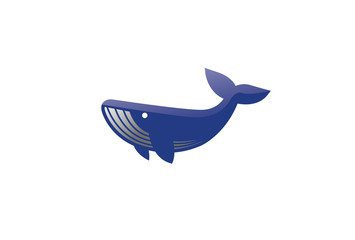 Creative Blue Whale Logo Symbol Vector Illustration