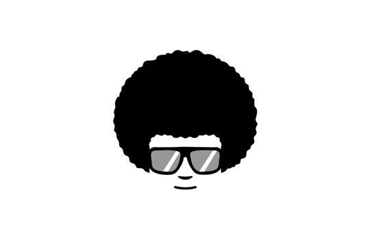 Creative Afro Hair Geek Style Logo Symgol Design Illustration