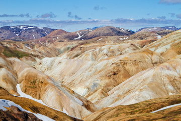 Icelandic mountain landscape. Colorful volcanic mountains in the Landmannalaugar geotermal area. One of the parts of Laugavegur trail