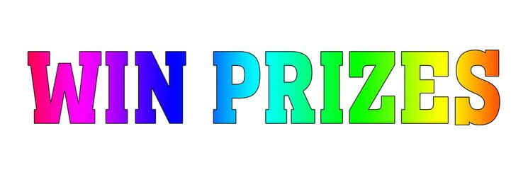 win prizes Rainbow Logo banner