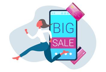 businesswoman running online shopping big sale concept smartphone screen internet mobile shop application business woman customer female cartoon character full length horizontal vector illustration