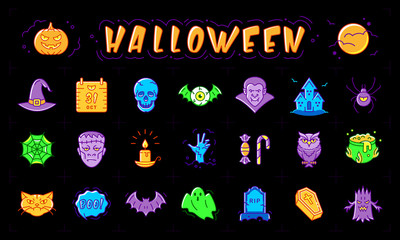 Halloween icon set. Isolated colorful Halloween symbols on a black background, Vector illustration