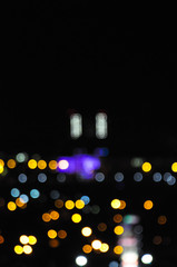 Blurred city lights paused the night