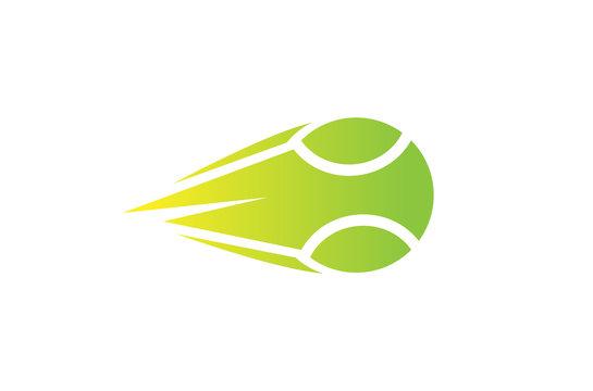 Creative Green Speed tennis Ball Logo Symbol Vector Illustration