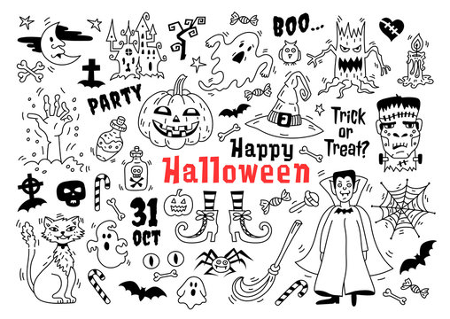 Halloween doodle icon set. Sketch of icons for decorating Halloween, Drawings Halloween symbols isolated, Vector illustration