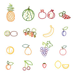 Set of fruit and berry line icons. Pineapple, watermelon, pomegranate, currant, kiwi, gooseberry, banana, plum, orange, pear, grapes, apple, apricot, cherry, strawberry and lemon. Vector Illustration