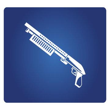 shotgun icon on blue background
