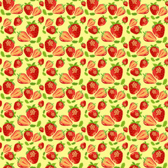 Fresh red strawberries on a yellow background. Hand-drawn seamless pattern.