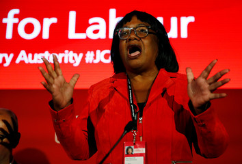 Britain's Labour Party shadow Home Secretary, Diane Abbott speaks during a fringe meeting at the party's annual conference, in Liverpool