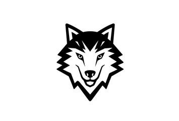 Creative Black Wolf Head Logo Symbol Vector Illustration