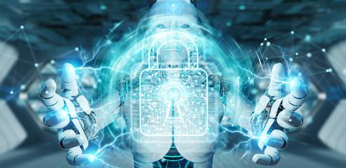 White woman robot securing digital datas 3D rendering