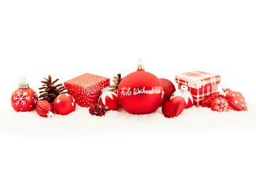 Frohe Weihnachten Grüße als Karte mit Dekoration