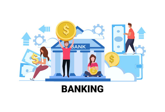 people holding money banking investment concept men women giving out exchange dollar coin banknote savings investing flat horizontal vector illustration