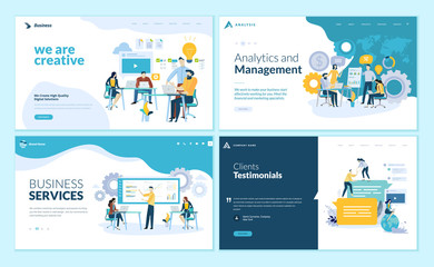 Set of web page design templates for creative and innovative solutions, business services, management and analytics, testimonials. Vector illustration concepts for website development.