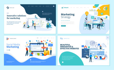 Set of web page design templates for internet marketing, social media, website design and development. Modern vector illustration concepts for website and mobile website development.