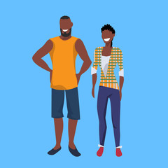 african american casual couple standing together man woman successful summer vacation relax concept female male cartoon character full length blue background flat vector illustration