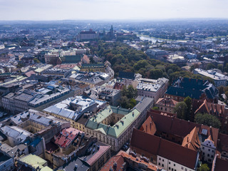 Old Town in Krakow from a bird's eye view, Poland