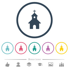 Curch flat color icons in round outlines