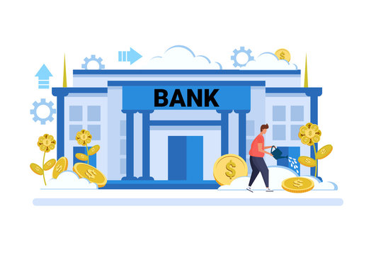 businessman watering dollar plant growth wealth investment concept bank building exterior background male cartoon character full length flat vector illustration