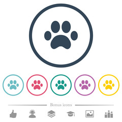 Paw prints flat color icons in round outlines