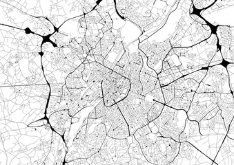 Monochrome city map with road network of Brussels