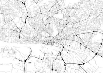 Monochrome city map with road network of Hamburg