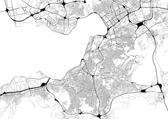 Monochrome city map with road network of Izmir