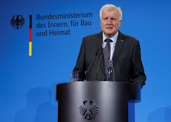 German Interior Minister Horst Seehofer addresses the media at interior ministry in Berlin