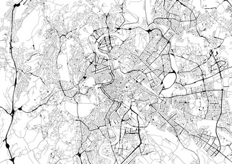Monochrome city map with road network of Rome