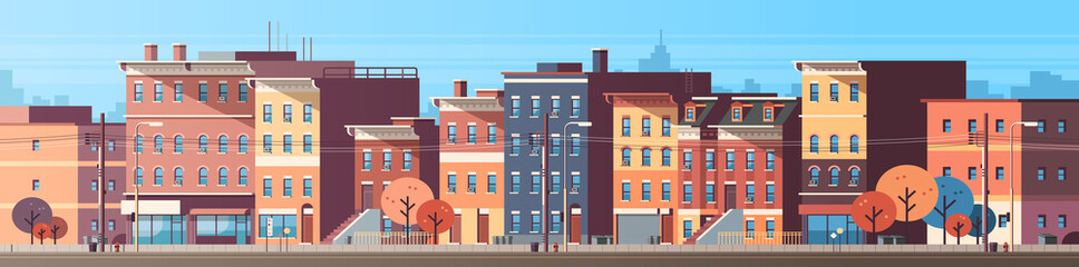 Obraz city building houses view skyline background real estate cute town concept horizontal banner flat vector illustration - fototapety do salonu