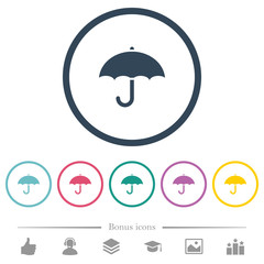 Umbrella flat color icons in round outlines