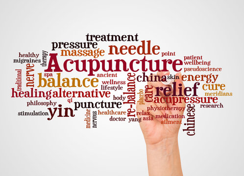 Acupuncture word cloud and hand with marker concept