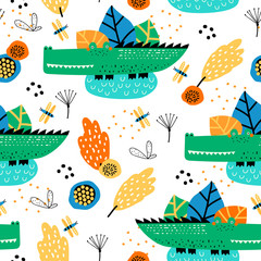 Seamless pattern with cute alligator and tropical plants. Vector texture in childish style great for fabric and textile, wallpapers, backgrounds. Creative jungle childish texture.