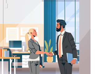 business couple handshake agreement concept businessman woman hand shake partnership communication modern office interior male female cartoon character flat portrait horizontal vector illustration
