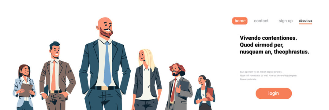 business people team leader businessmen women standing together leadership concept male female cartoon character portrait isolated horizontal banner flat copy space vector illustration