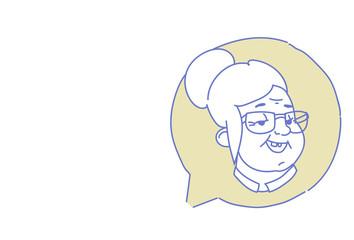 senior female head chat bubble profile icon elderly woman avatar support service call center concept sketch doodle character portrait horizontal vector illustration