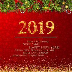 New Years 2019. Happy New Year greeting card with Christmas decoration. 2019 Happy New Year background with Christmas decoration.
