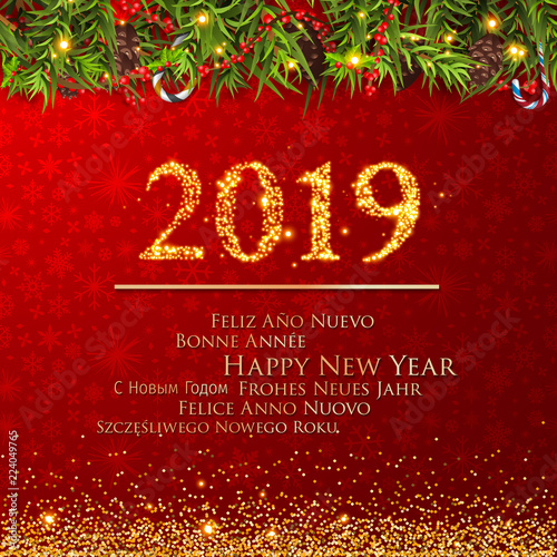 new years 2019 happy new year greeting card with christmas decoration 2019 happy new