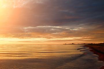 Majestic summer sunset over the Chudskoy lake