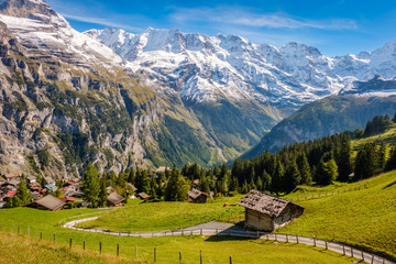 Spectacular mountain views between Murren and Allmendhubel (Berner Oberland, Switzerland). Murren is a traditional mountain village and is unreachable by public road.